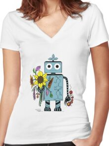Lina The Robot Women's Fitted V-Neck T-Shirt