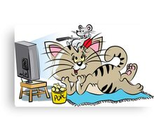 Cat and mouse watching TV Canvas Print