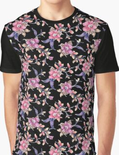 Pastel Pink & Purple Florals and Black Graphic T-Shirt