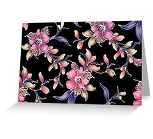 Pastel Pink & Purple Florals and Black Greeting Card