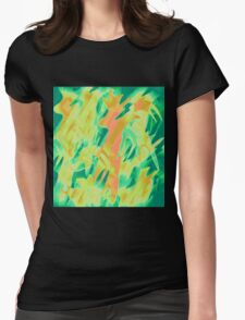 Green and orange design  Womens Fitted T-Shirt