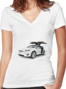 White 2017 Tesla Model X luxury SUV electric car with open falcon-wing doors art photo print Women's Fitted V-Neck T-Shirt