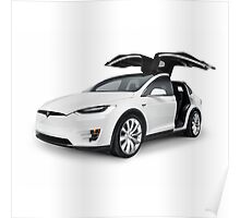 White 2017 Tesla Model X luxury SUV electric car with open falcon-wing doors art photo print Poster
