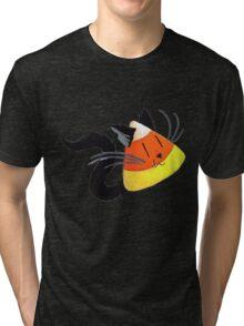 Black Cat Candy Corn Tri-blend T-Shirt