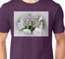 White Lace Cap Hydrangea Blossoms Unisex T-Shirt