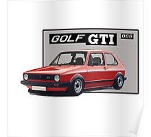 VW GOLF 1 GTI Red Poster
