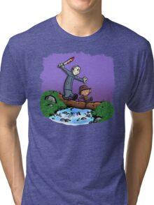 Freddy and Jason Parody mash up Tri-blend T-Shirt
