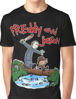 Freddy and Jason - Calvin and Hobbes Mash Up Graphic T-Shirt