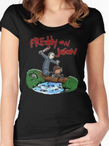 Freddy and Jason - Calvin and Hobbes Mash Up Women's Fitted Scoop T-Shirt