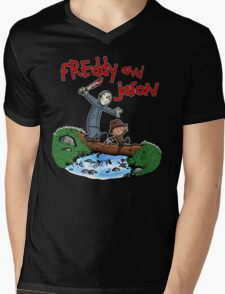 Freddy and Jason - Calvin and Hobbes Mash Up Mens V-Neck T-Shirt