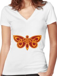 Celtic knot butterfly Women's Fitted V-Neck T-Shirt