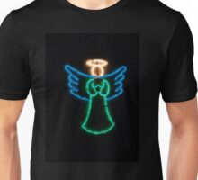 Christmas angel on black. Unisex T-Shirt