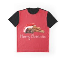 Dogue De Bordeaux Dog Sleeping with Christmas Hat  Graphic T-Shirt