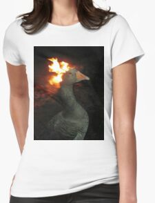 Fire Duck (goose on fire) Womens Fitted T-Shirt