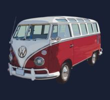 VW 21 window Mini Bus red and White Kids Tee