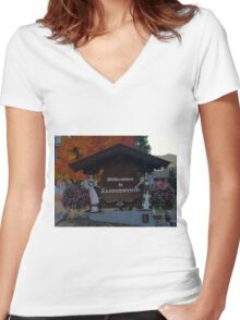 LEAVENWORTH WA. AT FALL TIME   Women's Fitted V-Neck T-Shirt