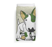 Bull Terrier Eye Patch Pup White & Greens Duvet Cover