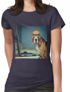 Beagle with glasses and laptop.Cute,cool,digital picture,beagle,dog,pet,laptop,glasses,modern,trendy,fun Womens Fitted T-Shirt