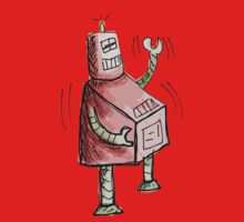 Red and Green Laughing Robot Knee Slapping One Piece - Long Sleeve
