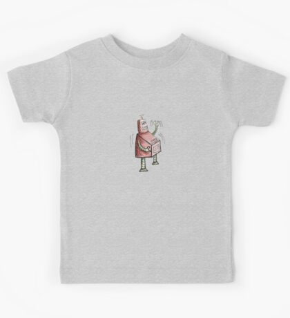 Red and Green Laughing Robot Knee Slapping Kids Tee