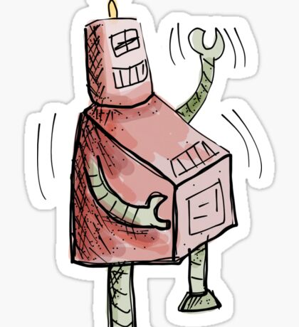 Red and Green Laughing Robot Knee Slapping Sticker