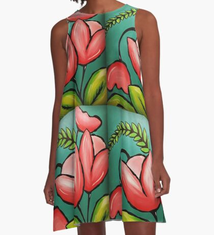 Pink Tulips! A-Line Dress
