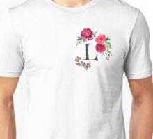 Floral Monogram Watercolor Letter L Unisex T-Shirt