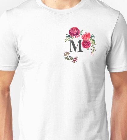 Floral Monogram Watercolor Letter M Unisex T-Shirt