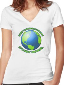 Keep the earth clean, it's not uranus Women's Fitted V-Neck T-Shirt