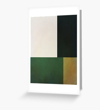 Abstraction #152 Green White and Black Blocks  Greeting Card