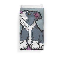 Bull Terrier Puppy Teal Blue Duvet Cover