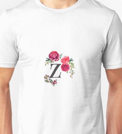 Floral Monogram Watercolor Letter Z Unisex T-Shirt