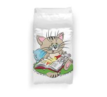 Cat and mouse reading a book together Duvet Cover
