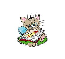 Cat and mouse reading a book together by KatMednik