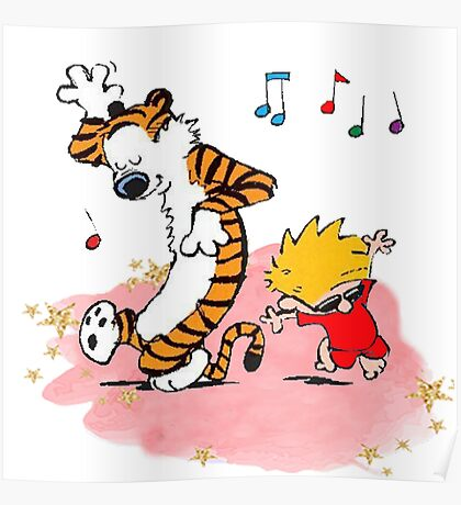 Calvin and Hobbes Dancing On The Floor Poster