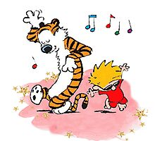 Calvin and Hobbes Dancing On The Floor Photographic Print