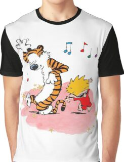 Calvin and Hobbes Dancing On The Floor Graphic T-Shirt