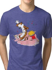 Calvin and Hobbes Dancing On The Floor Tri-blend T-Shirt