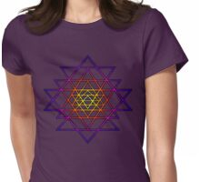 Triangle Mandala (yellow purple) Sri Yantra Sacred Geometry Symbol . Womens Fitted T-Shirt