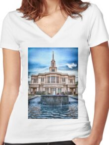 Payson Temple Lords House Women's Fitted V-Neck T-Shirt