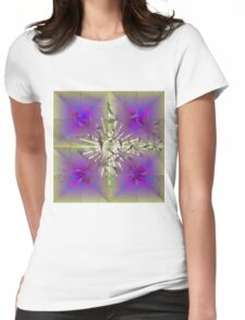Floral Abstract with Center Flare Womens Fitted T-Shirt