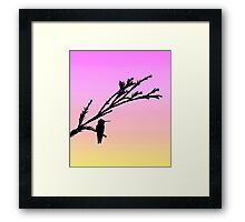 Hummingbird on branch in black silhouette with sunset Framed Print