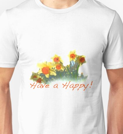 Yellow daffodil flowers have a happy design line Unisex T-Shirt