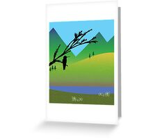 Hummingbird in black silhouette over landscape illustration Greeting Card