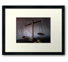antique wooden balance scales Framed Print