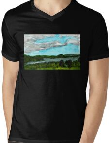 Henderson Harbor, New York, watercolor by Dan Vera Mens V-Neck T-Shirt