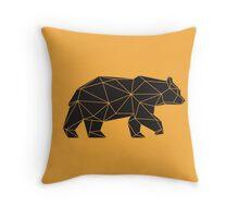 Yellow and Black Geometric Bear Throw Pillow