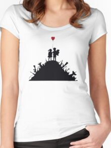 Banksy - 3 KIDS ON GUNS Women's Fitted Scoop T-Shirt