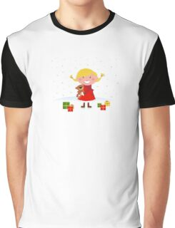 Happy winter blond child with teddy bear and christmas gifts Graphic T-Shirt