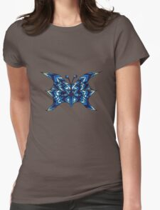 Blue Abstract Butterfly Womens Fitted T-Shirt